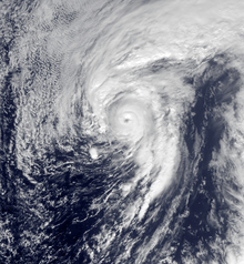 Satellite image of a well-defined hurricane near the Azores on January 14