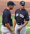 Alex Rodriguez and Mariano Rivera pre-game in Baltimore 4-23-11.jpeg