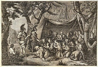 Gérard Edelinck - Alexander and Hephaistion visit the family of Darius in their tent after the battle of Issus, engraved by Gérard Edelinck from a painting by Charles le Brun