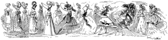 Alfred Grévin - A ca. 1870's caricature by Grévin which seems to express his view of the progressive downfall of women's fashions over the course of the nineteenth century so far.