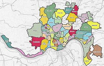Map Of List Of Cincinnati Neighborhoods The Full Wiki