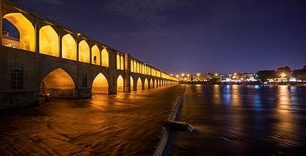 Allahverdi Khan Bridge in blue time.jpg