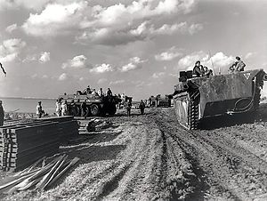 Battle of the Scheldt - Column of  Alligator amphibious vehicles passing Terrapin amphibious vehicles on the Scheldt river, October 1944.