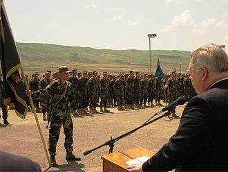 Georgia Sustainment and Stability Operations Program - The then-U.S. Ambassador to Georgia John F. Tefft addresses the Georgian graduates of the GSSOP II Program. June 17, 2007.