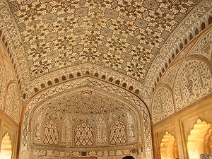 Amer, India - Interior of one of the palaces in Amer Fort