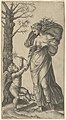 An allegory of Peace; Peace personified as a woman standing in a landscape holding the left hand of a winged genius, tree at left MET DP854375.jpg