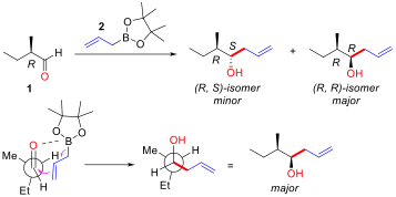 An example of substrate controlled addition of achiral allyl-boron to α-chiral aldehyde.