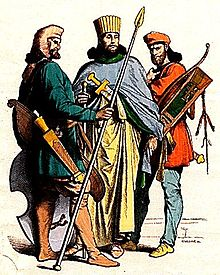 Costumes of an ancient Persian noblemen and soldiers.