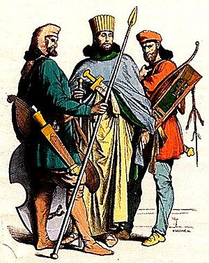 Persian people - Costumes of an ancient Persian nobleman and soldiers.