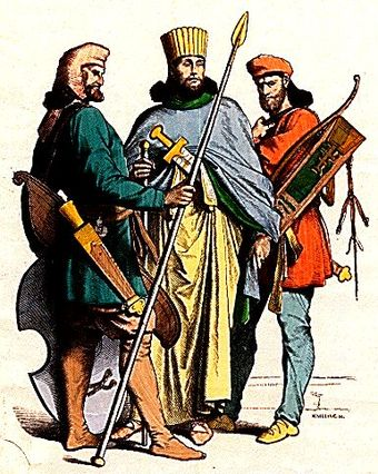 Costumes of an ancient Persian nobleman and soldiers. Ancient Persian costumes.jpg