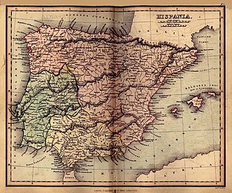 Lusitanic - Historical 1849 map of Roman Hispania showing Lusitania in green on the left, Tarraconensis in red at the top and right and Betica in yellow at the bottom