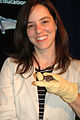 Ann Froschauer with a common vampire bat (7241385410).jpg