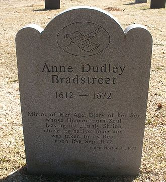 Anne Bradstreet - Memorial marker for Anne Bradstreet in the Old North Parish Burial Ground, North Andover, Massachusetts