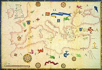 History of the Mediterranean region - Bacino del Mediterraneo, dall'Atlante manoscritto del 1582–1584 ca. Biblioteca Nazionale Centrale Vittorio Emanuele II, Rome (cart. naut. 2 – cart. naut 6/1-2).