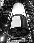 Apollo 12 S-II stage in the Vertical Assembly Building (VAB).jpg