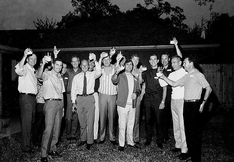 Apollo astronauts & Soyuz 9 crew at a backyard party