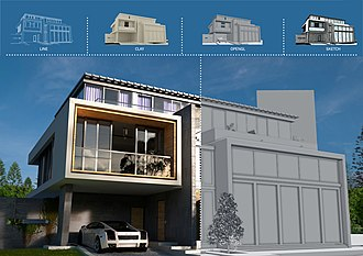 Architectural rendering - Same architectural render showing different rendering styles