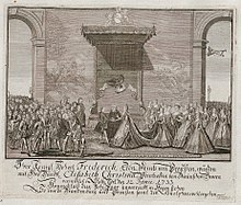 Frederick's marriage to Elisabeth Christine on 12 June 1733 at Schloss Salzdahlum (Source: Wikimedia)
