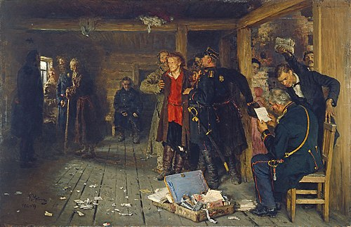 Ilya Repin's painting, Arrest of a Propagandist (1892), which depicts the arrest of a narodnik. Arrest of a Propagandist.jpg