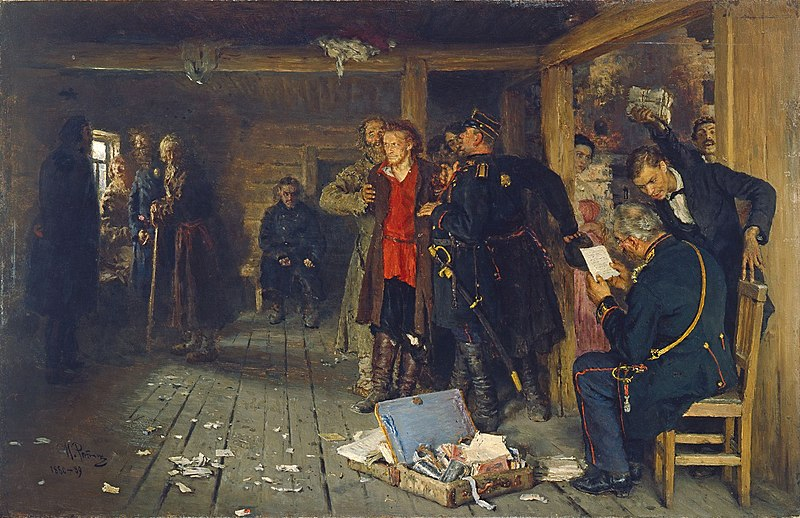 The arrest of the propagandist, painting by Ilya Repin.