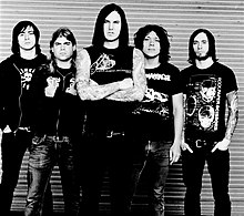 As I Lay Dying in 2006. From left to right: Phil Sgrosso, Jordan Mancino, Tim Lambesis, Nick Hipa, and Clint Norris