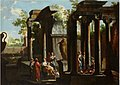 Ascanio Luciano (attr.) - Figures near a statue in an architectural palace.JPG
