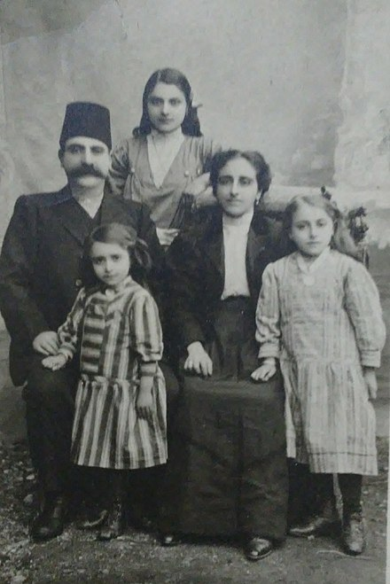 A note on the back of a photo says it shows relatives (of the note's writer) killed in 1915 en route to Deir ez-Zor. Ashjian family, killed in Armenian genocide 1915.jpg