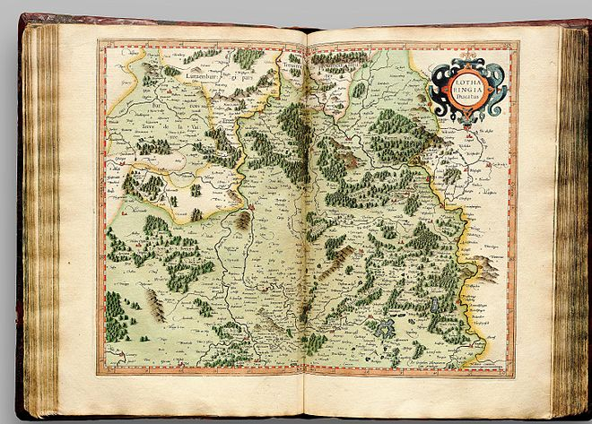 Lotharingia (Lorraine) as it appeared in the 1595 atlas Atlas Cosmographicae (Mercator) 129.jpg