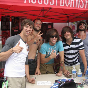 August Burns Red - August Burns Red during 2008's Warped Tour. From left to right: JB Brubaker, Jake Luhrs, Dustin Davidson, Brent Rambler and Matt Greiner.