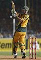 Australian cricket team captain Ricky Ponting tries to hook a ball off India's Asish Nehra at Vadodara.jpg