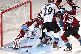 Save (goaltender) - Tyler Weiman makes a stick save in a Colorado Avalanche intrasquad game.
