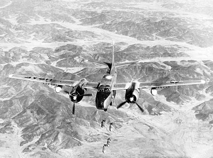 A USAF Douglas B-26B Invader of the 452nd Bombardment Wing bombing a target in North Korea, 29 May 1951 B-26B 452BW(L) bombing Korea 29May1951.jpg