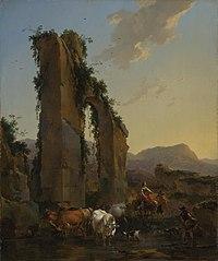 Paysan avec troupeau près d'un aqueduc en ruine