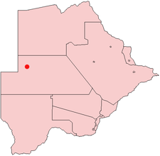 Location of Ghanzi in Botswana