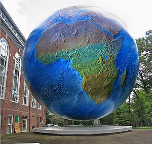 The globe on the campus of Babson College, Wel...
