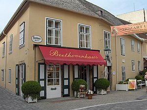 "Ode to Joy - Beethoven house (1821–1823) at the Rathausgasse 10, Baden bei Wien in Austria, where he wrote the Missa Solemnis and completed the 9th symphony ""Ode to Joy"""