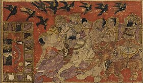 Balami - Tarikhnama - The miraculous rescue of the Ka'ba from Abraha's attack (cropped).jpg