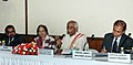 Bandaru Dattatreya briefing the media after the Tripartite meeting consisting of Trade Unions, State Governments and Employers, in New Delhi. The Secretary, Ministry of Labour and Employment, Smt. Gauri Kumar is also seen.jpg