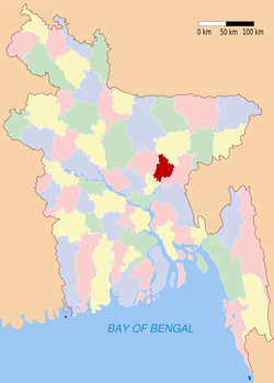 Location of Narsingdi in Bangladesh