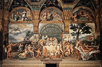 Voluptas - Voluptas is pictured with his parents, Cupid and Psyche, at far right in Banquet of Amor and Psyche by Giulio Romano.