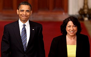 Sonia Sotomayor Supreme Court nomination - President Barack Obama with Judge Sonia Sotomayor prior to an announcement in the East Room, May 26, 2009.