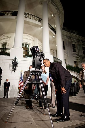 "International Year of Astronomy - U.S. President Barack Obama views a double star in the constellation Lyra through an 8"" Schmidt–Cassegrain telescope during the 2009 White House Astronomy Night."