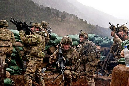 U.S. Army soldiers with 2nd Battalion, 327th Infantry Regiment, 101st Airborne Division return fire during a firefight with Taliban forces in Barawala Kalay Valley in Kunar province, Afghanistan, March 2011 BarawalaKalay.jpg