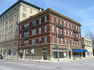 National Register of Historic Places listings in Allen County, Ohio - Image: Barr Hotel, Lima, blue sky