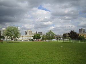 Bartlett Park -  View eastward with Lindfield Street on the right, May 2007