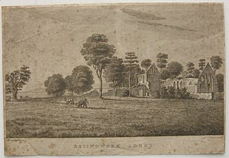 Moses Griffiths - Engraving of Basingstoke Abbey by Pierre-Charles Canot, after painting by Moses Griffiths. About 1770.
