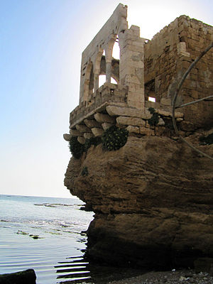 "Architecture of Lebanon - ""Makaad El Mir"" ruins by the rocky beach in Batroun, Lebanon"