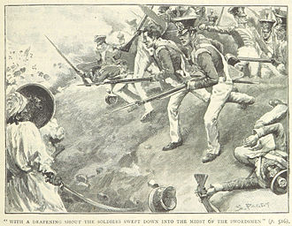Battle of Hyderabad - British troops charge the Talpur lines (from a British book)