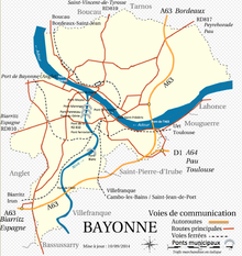 Carte des voies de communication de Bayonne.