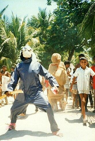 Folklore of the Maldives - Be. Popular celebration in Holhudu Island. Men dressed like evil spirits walk around the island scaring the children.